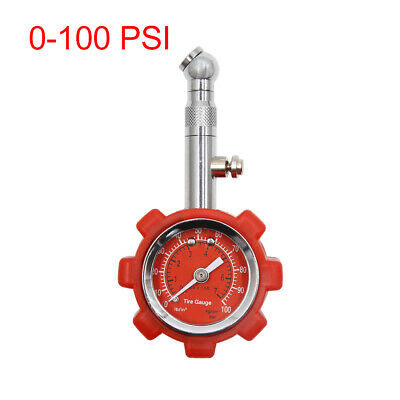 0-100 PSI Dial Meter Universal Tire Air Pressure Gauge Tester Red for Auto Car