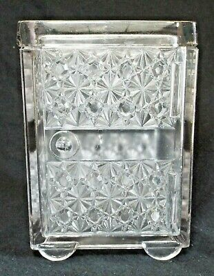 Antique DAISY & BUTTON Pattern Pressed Glass SAFE COVERED DISH w/ Lid Humidor