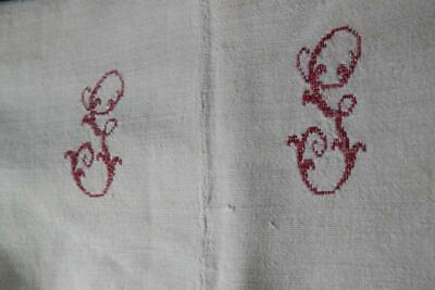 EXQUISITE ANTIQUE FRENCH HEMP CHANVRE SHEET HAND LOOMED RED MONOGRAM 1800's #F40