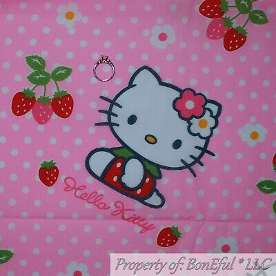BonEful FABRIC FQ Cotton Woven Pink White HELLO KITTY Red Strawberry Polka Dot L