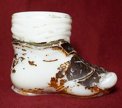 Small Old Antique MILK GLASS Figural HOBO BOOT Shoe MATCH HOLDER