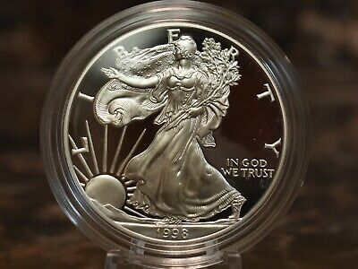 1998 American Silver Eagle Proof $1 Coin w/ Mint Packaging Brilliant Cameo Proof