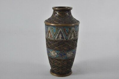 a16w64- Alte Cloisonné Vase, Messing, Japan