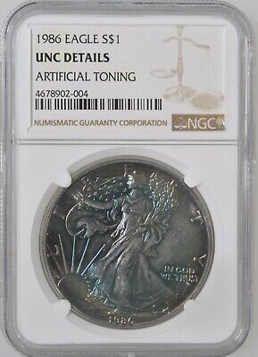 1986 $1 American Silver Eagle Dollar NGC UNC Details Toning First Year Issue