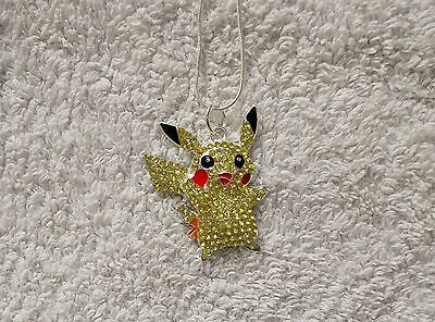 Unwanted POKEMON PIKACHU Inspired Large Charm Gift NECKLACE With Rhinestones