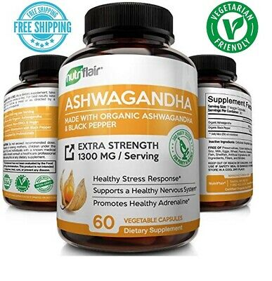 Ashwagandha Root Powder 1300mg With Black Pepper Extract, 60 Vegetable Capsules