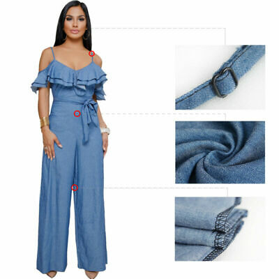 1e3db6aac Sexy Women Backless Blue Jeans Denim Romper Jumpsuit Casual Loose Pants  Ruffle