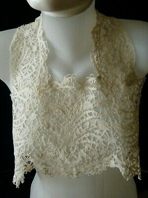 Old Vtg Plastron w Collar H made silk Cluny lace lined w mesh lace England