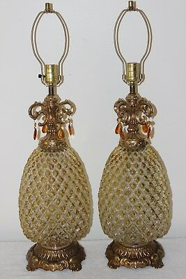 Stunning Pair Of Vintage EF And EF Industries Glass Pineapple Table Lamps