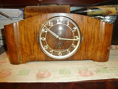 fantastic art deco mantel clock walnut case german movement 8 day key jazz age