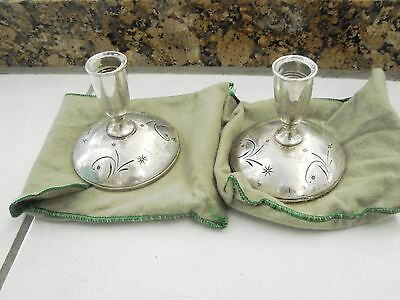 """GORHAM STERLING Silver CONSOLE CANDLEHOLDERS - Set of 2 - CELESTE 3.5"""" TALL"""