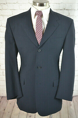 Kenneth Cole Mens Navy Blue 3 Button Wool Pleated Front 2 Piece Suit 41R 35x30