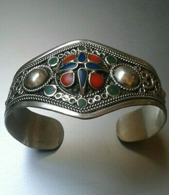 EXTREMELY RARE ANCIENT BRACELET VIKING BRONZE inlay coral ANTIQUE VINTAGE