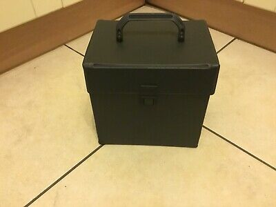 80s  Vintage retro 7 Inch Singles Vinyl Record Carrying Case Storage Box BLACK .