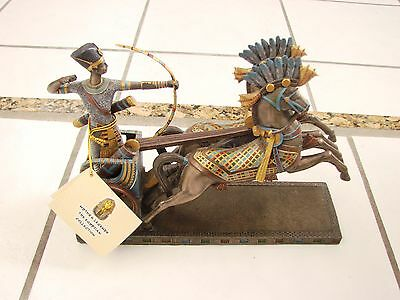 """King Ramses Battle of Qadesh Egyptain Statue Charriot with Horses 10.5"""" L"""