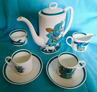 SUSIE COOPER: 'CAN' shaped part coffee set, scare 'ASHMUN' pattern. NR!