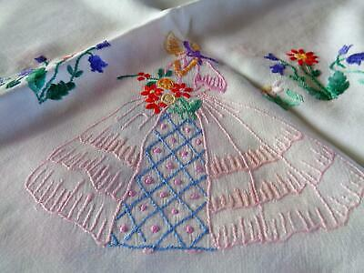 Delightful Crinoline Lady& Flowers Vintage Hand Embroidered Tablecloth