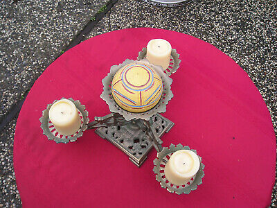 Antique Victorian Ornate Cast Iron Table Decor 3 Arm Oil Lamp -Candle Holder