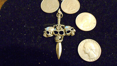 bling pewter myth celt goth pagan 3 skull dagger pendant charm necklace jewelry