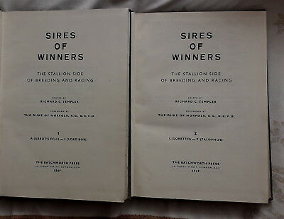 Sires Of Winners The Stallion Side Of Breeding & Racing By Templer 2 Volume 1949