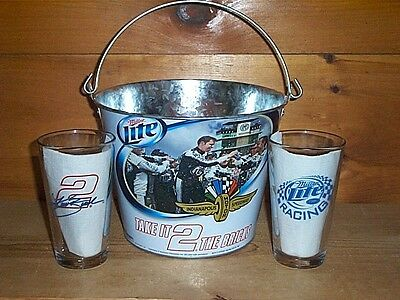 Miller Lite Racing 2 Beer Pint Glasses & Indianapolis Speedway Ice Bucket New
