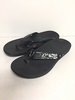 e6d156eb23b VIONIC By Orthaheel Black TIDE Sequins Orthotic Flip Flop Thong Sandals  Size 8