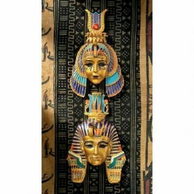 Set of 2 Egyptian Artifact Replica Royal Wall Mask Sculpture