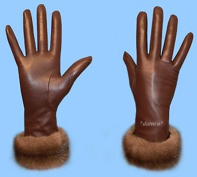 NEW WOMENS size 6.5 BROWN LAMBSKIN LEATHER GLOVES with RANCHED MINK FUR TRIM