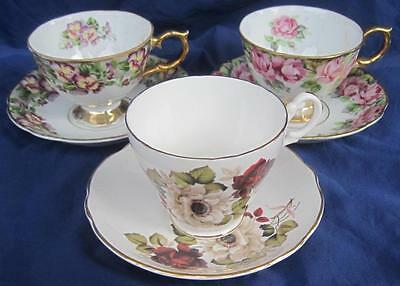 3 Sets Royal Ascot England Sealy  Cup & Saucer Bone China Japan Roses Pansy