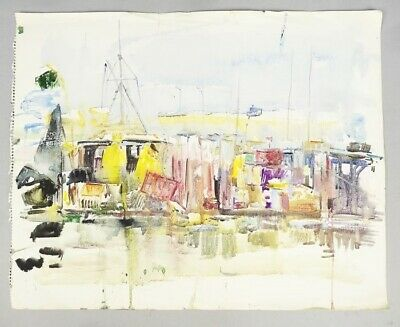 Original Walton Battershall Painting Small Craft Galilee Dockings Harbor 1974