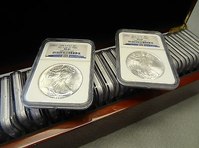 Silver American Eagle 1986-2010 Set Ngc Ms 69 - 25 Coins!  Set 1184 Of 1500 Sets