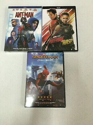 3 DVD Marvel Ant-man & Ant-man and the Wasp & Spider-Man: Homecoming Bundle NEW