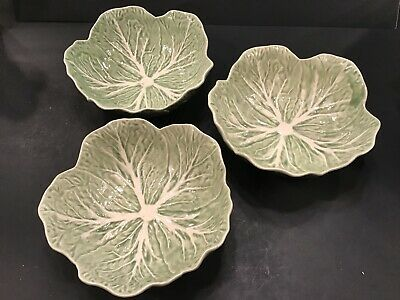 "* Set of 3* Bordallo Pinheiro Cabbage Leaf 7 1/4""Cereal / Soup Bowls Portugal"