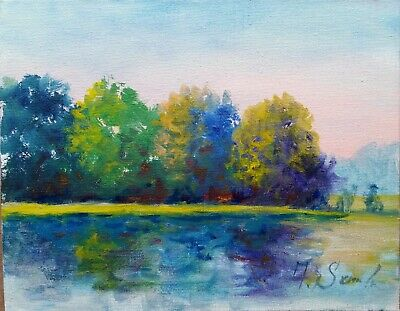 River Trees Sunny Meadows Landscape Expressionist Oil Painting Semberecki Coa