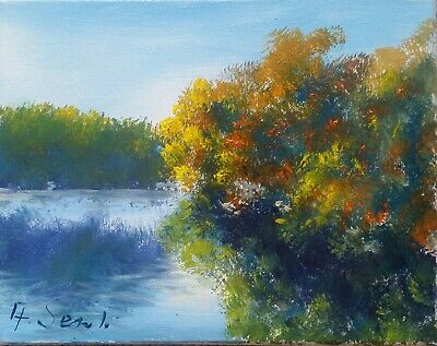 River Trees Sunny Meadows Impressionism Landscape Oil Painting Coa