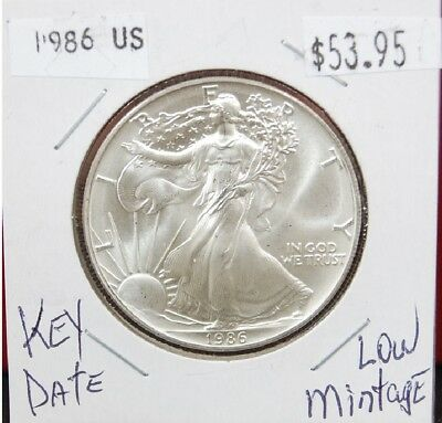 1986 Silver American Eagle BU 1 oz. Coin US $1 Dollar Uncirculated Key Date *001