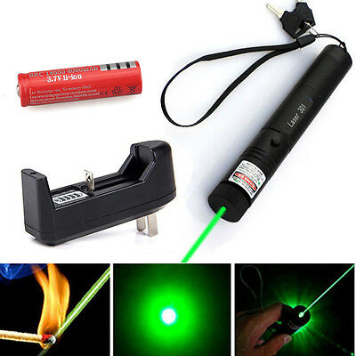 Military 5mw 532nm Zoomable Focus Burning Green Laser Pointer Pen +18650 Battery