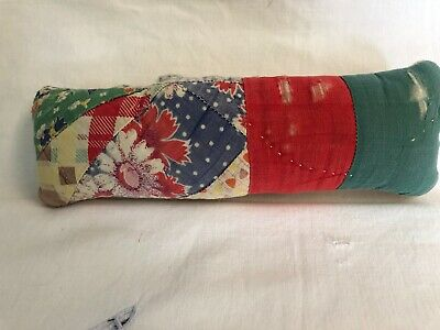 Primitive antique mini quilt pillow, vintage handmade OOAK, pin keep,green, red