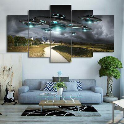 5 Panel Six Flying UFO's Country Landscape Modern Décor Wall Art Canvas HD Print