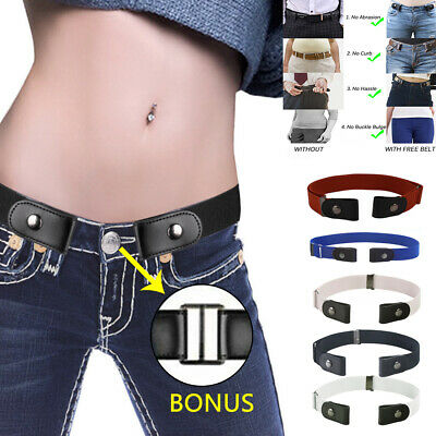 Women Men Buckle-Free Elasticated Belt Comfortable Invisible Belt For Jean Pants