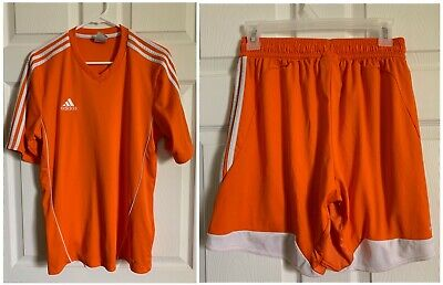 0dce12fae Adidas Orange Soccer Shirt Jersey Short Sleeve Climacool Men Outfit Set  Size M