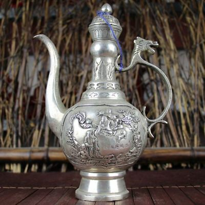 China old Feng Shui ornaments white Copper Silver plating Flagon pot