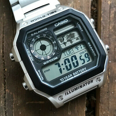 Casio AE1200WHD-1A Unisex Digital Dial World Time Steel Watch sale 3 days only