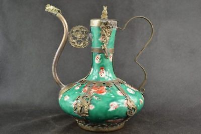 Antique Collectible Tibetan Silver & Porcelain Inlaid Handmade Teapot Green