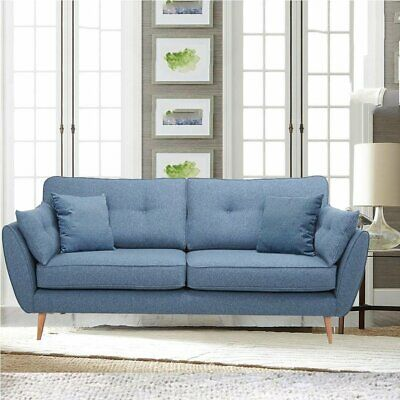 Zinc Blue Retro Sofa Bed Set 3+3 Seater Design Soft Fabric Deep Seat Sofas Suite
