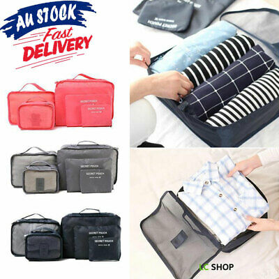 6Pcs Packing Cubes Travel Storage bag Pouches Luggage Suitcase Clothes Organiser