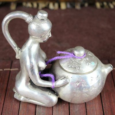 China old Feng Shui ornaments white Copper Silver plating  beauty kneeling pot