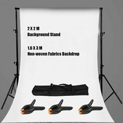 Photography Background Stand Kit + Photo Studio White Backdrop Set +Carrying Bag