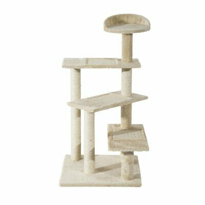 100cm Tall Cat Tree Toys Bed Scratcher Scratching Post Activity Centre Beige