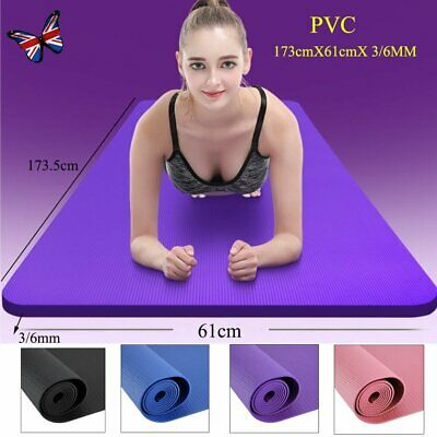 Yoga Mat Gym Exercise 3mm/6mm Thick PVC Fitness Physio Pilates Soft Non Slip